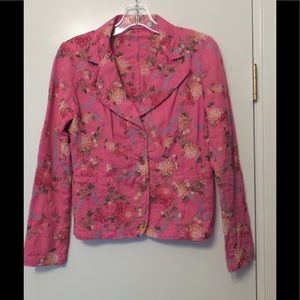 JOHNNY WAS Pink Heavily Embroidered Jacket Size S